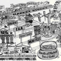 A political cartoon published by SPUR in advance of development in SOMA.